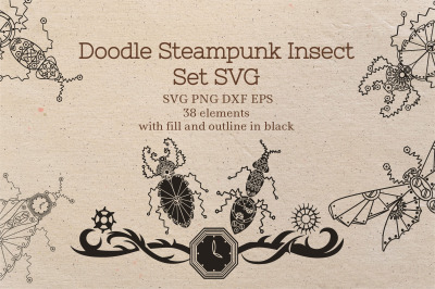 Doodle Steampunk Insect Set SVG