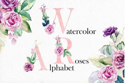 Watercolor alphabet.