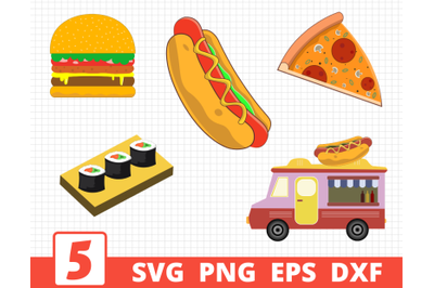 Fastfood svg bundle | Fast food cricut | Burger clipart