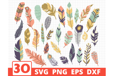 Feather svg bundle | Boho svg | Feather vector | Feathers clipart