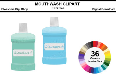 Mouthwash Sticker Clipart, 36 files, multi colours