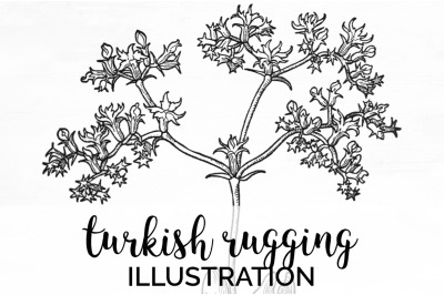 Flowers - Turkish Rugging Vintage Clipart Graphics