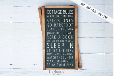 Cottage Rules SVG, Cottage Sign Cutting File