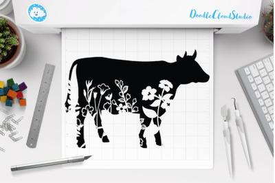 Floral Cow SVG, Flower Cow SVG Cut File, Floral Cow Clipart.