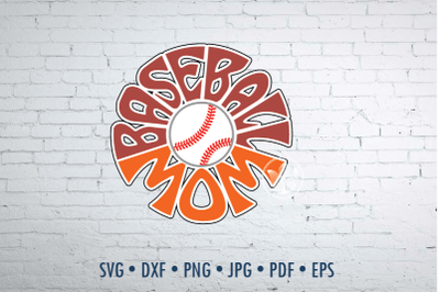 Baseball mom Word Art design, svg, dxf, eps, jpg, png