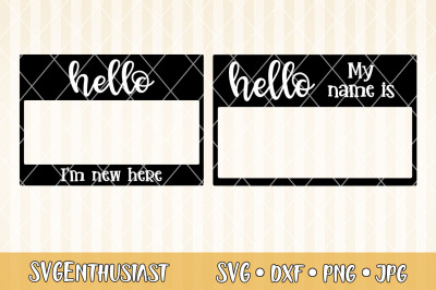 Name tag SVG cut file