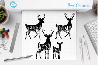 Floral Deer SVG Cut Files, Flower Deer Clipart.