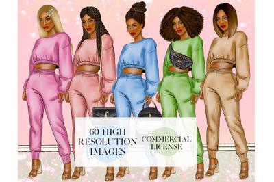 Fashion girls black girl clipart afro american glamorous planner clipa