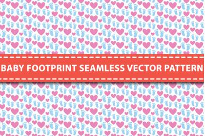 Baby Footprint Seamless Vector Pattern