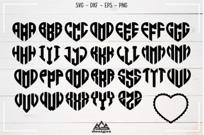 Love Heart Alphabet Monogram Svg Design