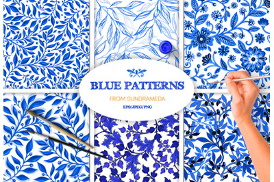 Hand-drawn blue watercolor patterns