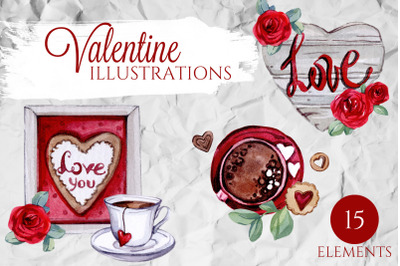 WATERCOLOR Valentine Illustrations