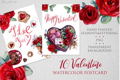 VALENTINE Watercolor Postcards
