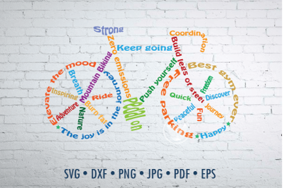 Bicycle Word Art design, Mountain biking svg, png, eps, dxf