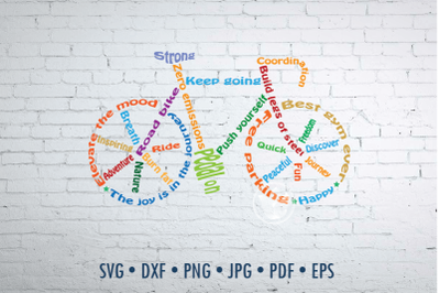 Bicycle Word Art design, Road bike svg, png, eps, dxf