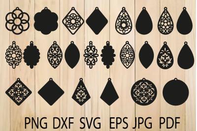 Earrings SVG, Mandala Earring SVG, Earrings Template