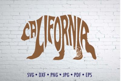 California Word Art design in bear shape Svg Dxf Eps Png Jpg