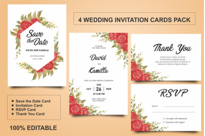 Beautiful Watercolor Wedding Invitation Card Templates