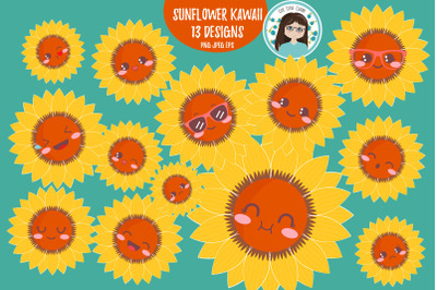 Sunflower spring kawaii clipart