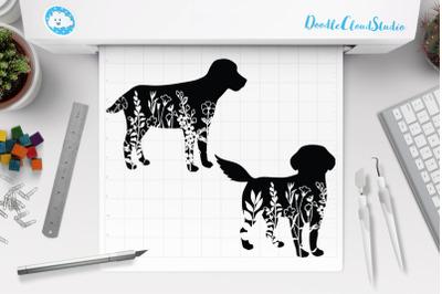 Floral Dog SVG, Flower Dog SVG Cut Files, Flower Dog Clipart