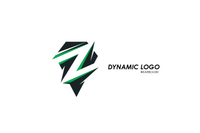 Dynamic black and green logo