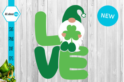 St Patricks Love Gnome Svg