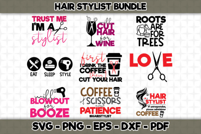 Hair Stylist SVG Bundle - 9 Designs Included