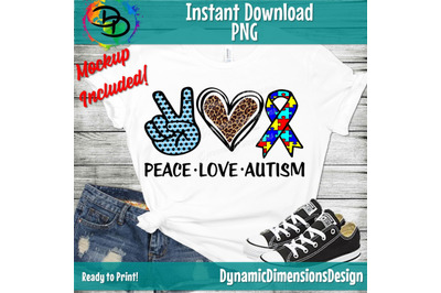 Peace love Autism png, Autism png, Autism printable, Sublimation desig