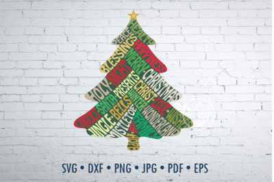 Christmas Tree shape Word Art, svg, png, jpg, dxf