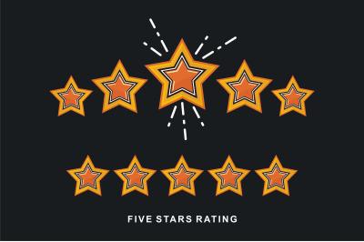 5 Star vector icon, rank, gold favorite web symbol.