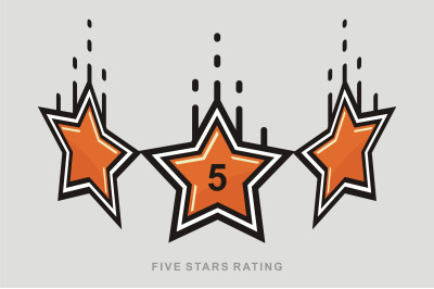 5 Star vector icon, rank, gold favorite web symbol.