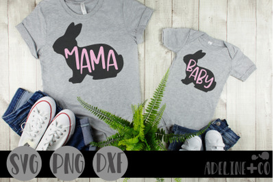 Mama bunny, baby bunny, matching, SVG, PNG, DXF, mommy and me