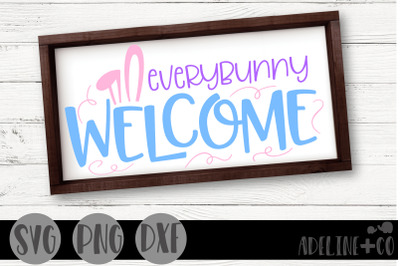 Everybunny welcome sign, SVG, PNG, DXF, easter
