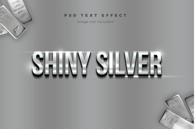 Shiny Silver 3d text effect template