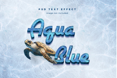 Aqua Blue 3d text effect template