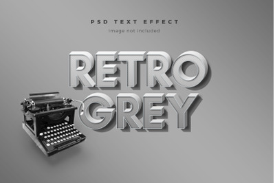 Retro Grey 3d text effect template