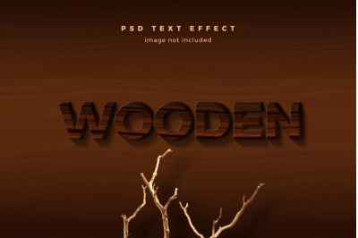 Wooden 3d text effect template