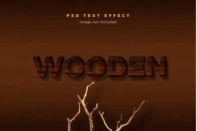 Wooden 3d text effect template