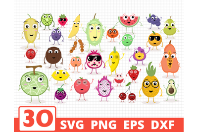FRUITS SVG BUNDLE | Cartoon fruits characters cricut | Fruits clipart