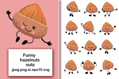 Hazelnuts nuts. Cute characters with human faces in different poses. B