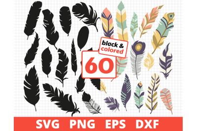 FEATHERS SVG BUNDLE   COLORED, SILHOUETTE & SKETCH