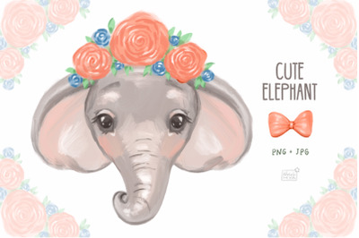 Cute elephant cliparts