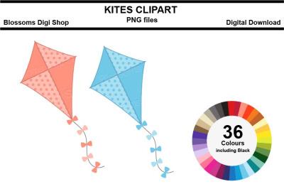 Kites Sticker Clipart, 36 files, multi colours