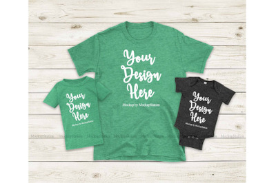 St Patrick's Mommy And Me Heather Irish Green Gildan Tshirt Mockup