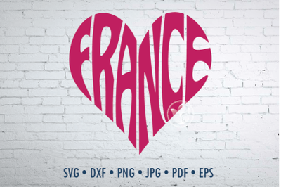 France Word Art, Svg Dxf Eps Png Jpg, Cut file