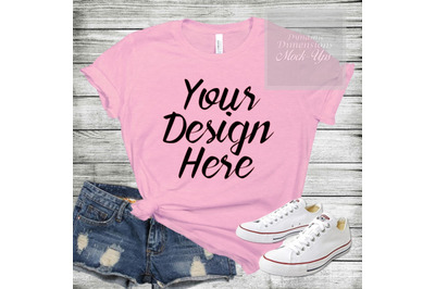 Bella Canvas 3001 pink Unisex T-shirt Mock Up shirt template