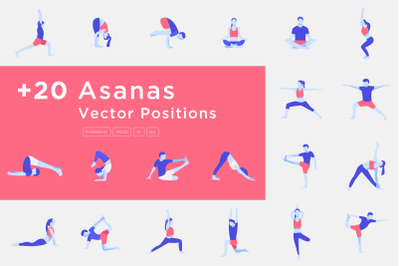 Yoga Poses and Asanas Vectors