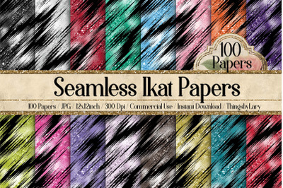 100 Seamless Glitter Ikat Tie Dye Pattern Digital Papers
