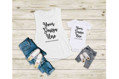 Bella Canvas 8803 100B Mommy And Me Tank Top Baby Bodysuit Mockup