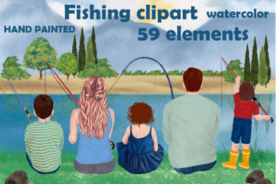 Fishing clipart, Family fishing, Father's day clipart